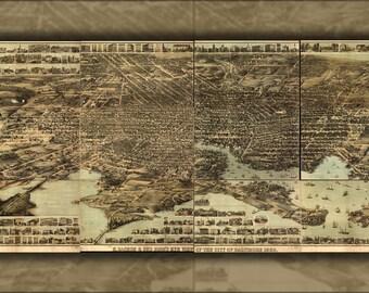 24x36 Poster; Birdseye Map Of Baltimore Maryland 1869