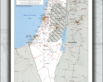 24x36 Poster; Cia Map Of Israel 1988