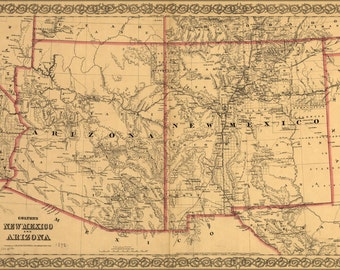 24x36 Poster; Colton'S Map Of New Mexico And Arizona 1873