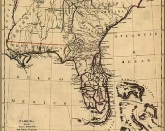 24x36 Poster; Map Of Florida 1768