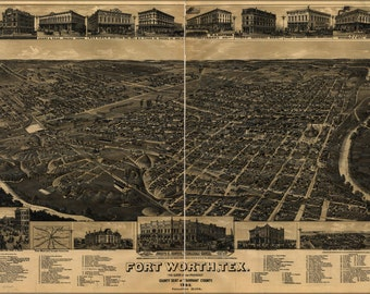 24x36 Poster; Map Of Fort Worth Texas 1886
