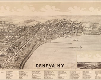 24x36 Poster; Map Of Geneva New York 1893