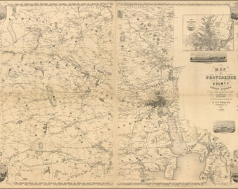 24x36 Poster; Map Of Providence County, Rhode Island 1851
