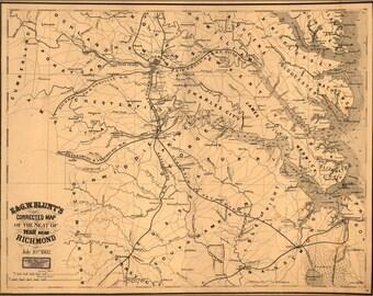 24x36 Poster; Map Of Seat Of War Near Richmond Virginia 1862