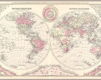 24x36 Poster; Map Of The World 1886
