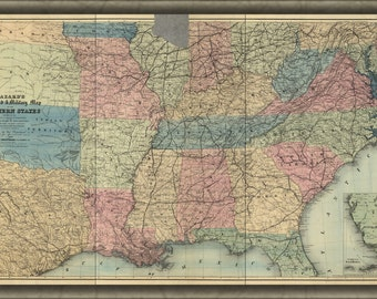 24x36 Poster; Railroad & Military Map Of Southern States 1863