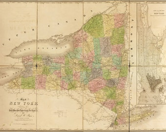 24x36 Poster; 1839 Map Of New York