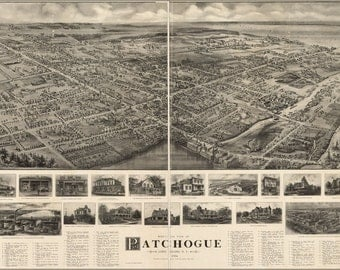 24x36 Poster; Aerial Map Of Patchogue Long Island New York 1905