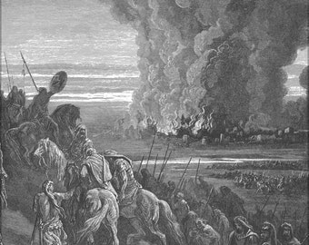 24x36 Poster; Joshua Burns The Town Of Ai From Gustave Dore English Bible