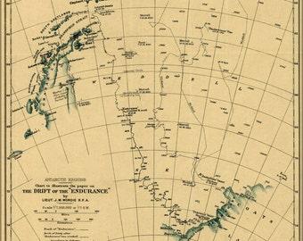 24x36 Poster; Map Ernest Shackletons Endurance 1918 Antarctica