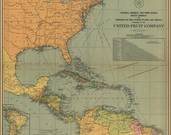 24x36 Poster; Map Of Central & South America West Indies 1909