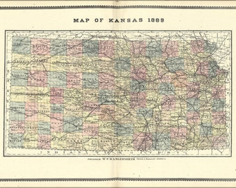 24x36 Poster; Map Of Kansas 1889