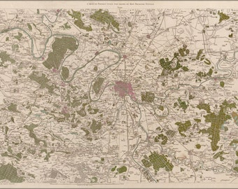 24x36 Poster; Map Of Paris And Environs 1793