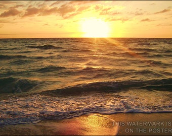 24x36 Poster; Sunrise  Over The Atlantic Ocean In Hollywood Florida