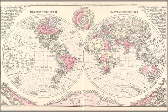 24x36 Poster Map Of The World 1886