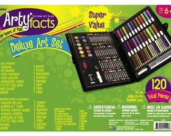 Darice 120-Piece Deluxe Art Set Supplies And Sketch Pencils with Artist Drawing Guide for Scrap book for Drawing, Painting and more