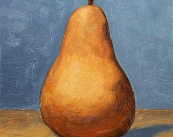 Bosc Pear Oil Painting, Original Wall Art Still Life by Aleksey Vaynshteyn