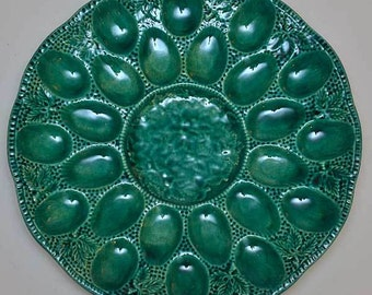 New Sea Green Deviled Egg Plate with 24 Divots