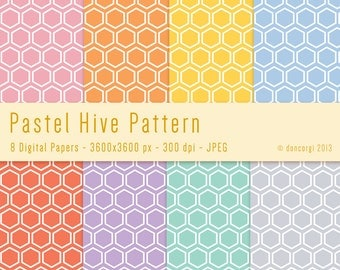 Pastel Bee Hive Wrapping Digital Paper - Digital Patterns Backgrounds for Scrapbooking, Invites, Card Design and Web Design INSTANT DOWNLOAD