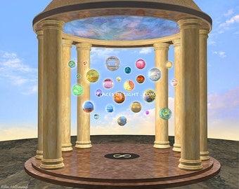 Palace of Treasured Memories, inspirational art, visionary art, fantasy art, inspirational gift, artworks, modern wall art, modern art