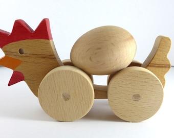 Handmade Wooden Toy Chicken
