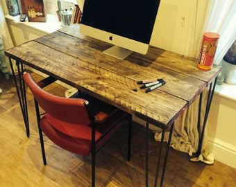 Stunning wooden desk with steel hairpin legs