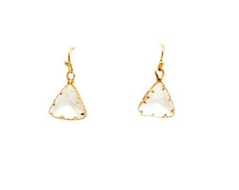 Triangle Wire Wrapped Quartz Earrings
