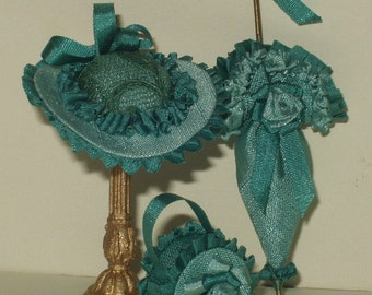 Set umbrella, hat and handbag, 1/12 scale fabric, trimmings, gallon in silk and roses