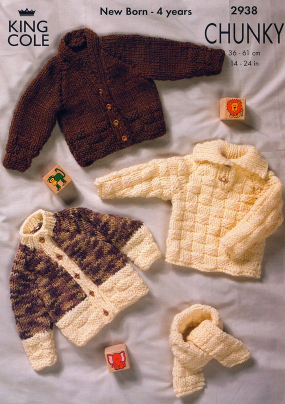 Download Knitting Patterns King Cole : Knit Baby Chunky Cardigan Sweater Scarf Vintage Knitting