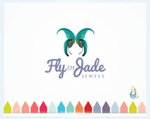 Florist Logo ButterFly with Flowery Jade Wings Meaning Freedom, Beauty and Majesty Premade Logo for Salon, Makeup Perfume Shop Business Logo