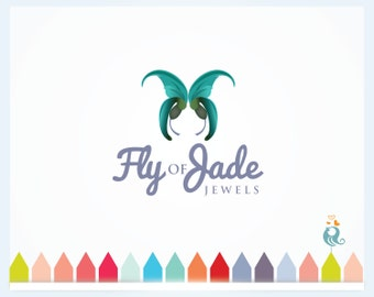 50% OFF SALE Florist Logo ButterFly with Flowery Jade Wings Meaning Freedom, Beauty and Majesty Premade Logo for Salon, Makeup Perfume Shop