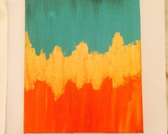 Tangerine Turquoise Gold Painting