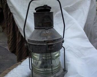 Antique Ship Lantern, Nautical, Marine, clear glass
