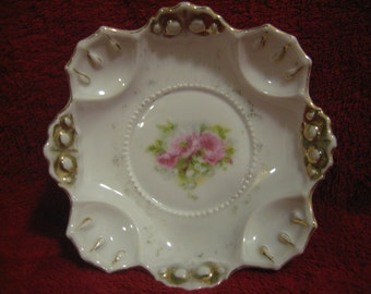SALE !!! Antique German Dish, Gold Accented, Pink Flowers, Numbered