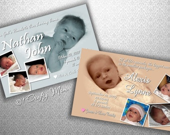 Baby Boy Girl Photo Birth Announcement Photocard Digital Download: God's Hands Design- DIY Printable