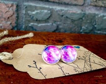 Pink/Purple Shimmer Galaxy post earrings