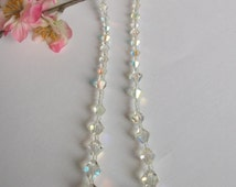 Vintage Crystal Necklace, Aurora Borealis Necklace, Vintage Wedding Gift, Bridal,