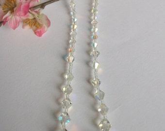 Vintage Crystal Necklace, Aurora Borealis Necklace, Vintage Wedding Gift, Bridal,