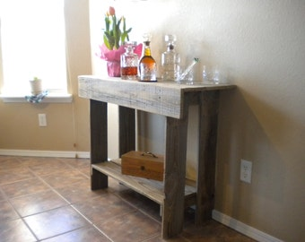 Console Table. Wood Entry Way or Wall Table. Wall Table Runner. Wood Furniture. Rustic Wood Table