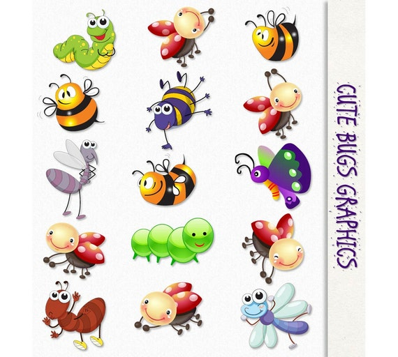Cute Bugs Clip Art Insects Clipart Scrapbook Graphic