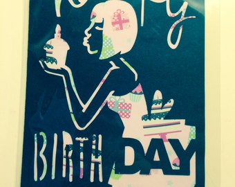Black and Pink Cut Out Lady Birthday Card