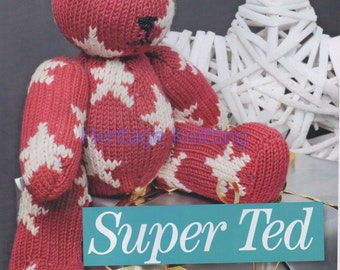 super ted bear toy dk knitting pattern 99p