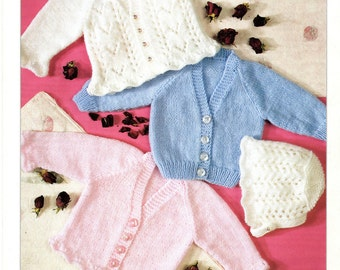 cardigans and bonnet dk knitting pattern 99p pdf