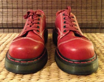 Unusual Doc Martens cherry red oxfords, UK size 5