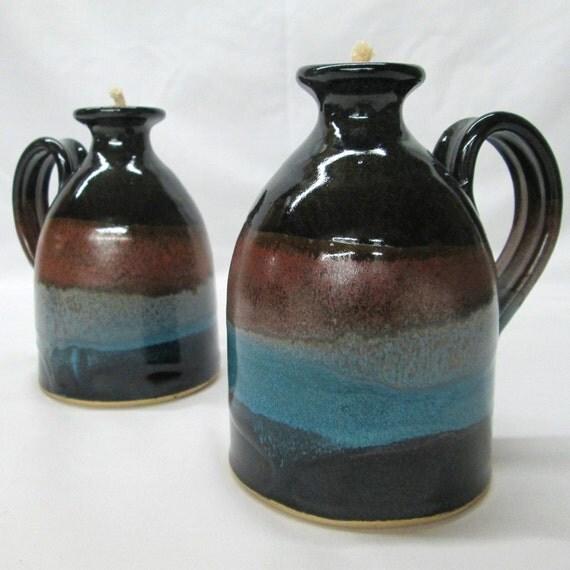 Handmade Ceramic Oil Lamps : Oil lamp burning candle lantern handmade by paschalpottery