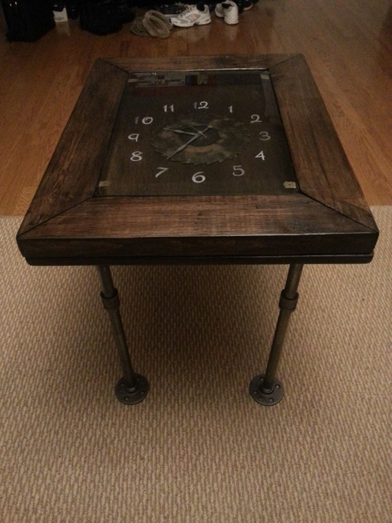 Rustic End Table W Functioning Clock And By