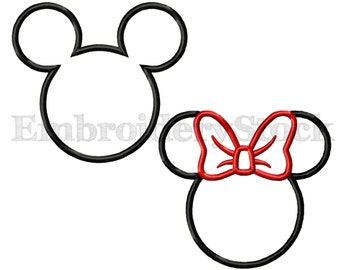 Minnie Mouse Applique and Mickey Mouse Applique Machine Embroidery Design Files For Instant Download