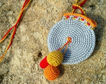 Crochet Drawstring Yoga Jewelry Holder,blue drawstring pouch, hanging ponpons, crochet bag, mini pendant, necklace wallet, red and blue, bag
