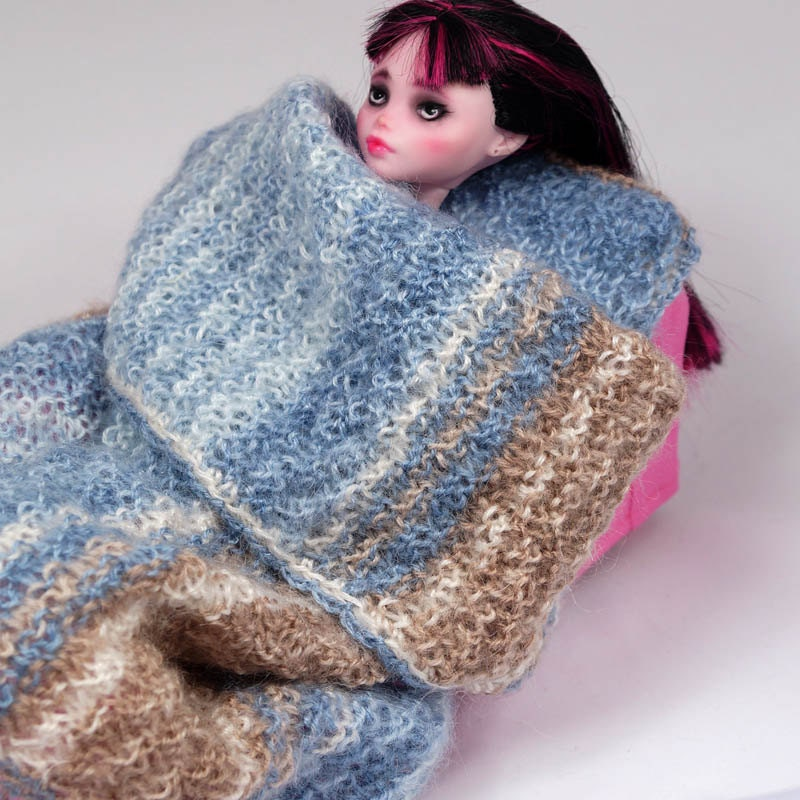 Knitted Doll Blanket Pattern : Full knitted DOLL BLANKET and PILLOW set with by ZomiDollClothes