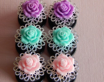 3/4 Inch Gauge Plugs, 19mm, Gauges, Roses, 3 COLORS